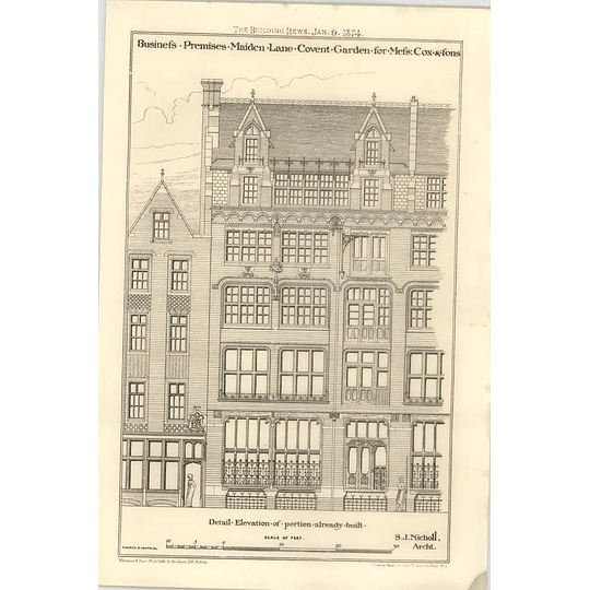 1874 Business Premises Maiden Lane Covent Garden For Cox And Sons
