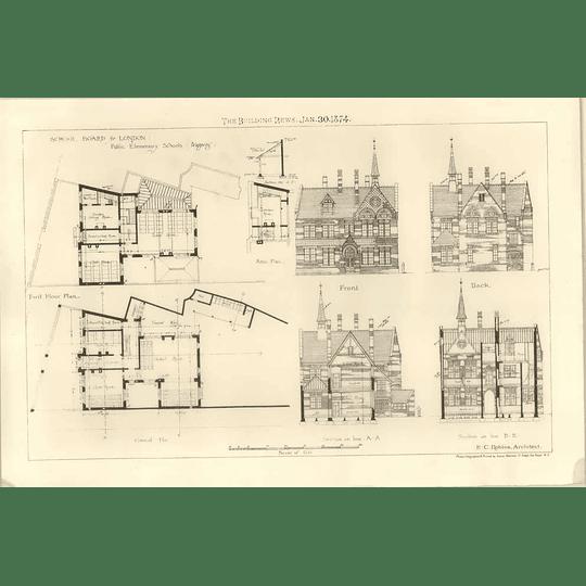 1874 Public Elementary Schools, Wapping, Design, Plans E.c Robins Architect