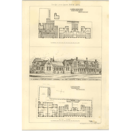 1874 Liverpool School Board, Butler Street School, Design, Plan