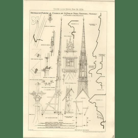 1874 Details Of Flecne Church St Philip Neri Arundel Sussex