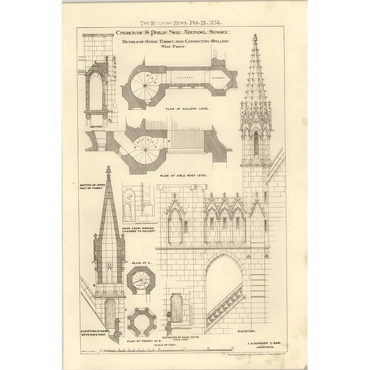 1874 Details Of Stairs Turrets St Philip Neri Arundel Sussex