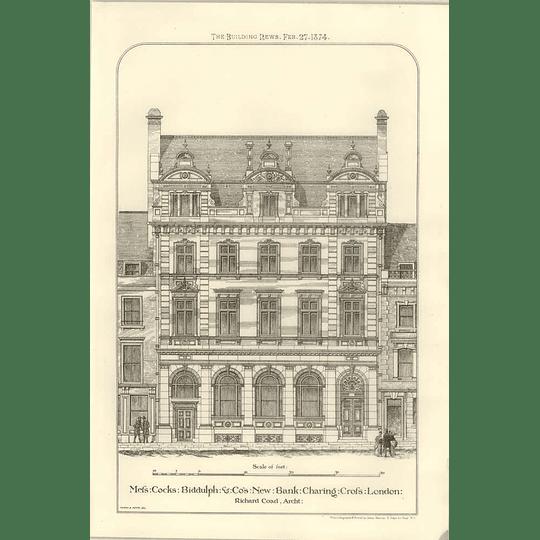 1874 Cocks,biddulph & Co-new Bank Charing Cross London Richard Coad