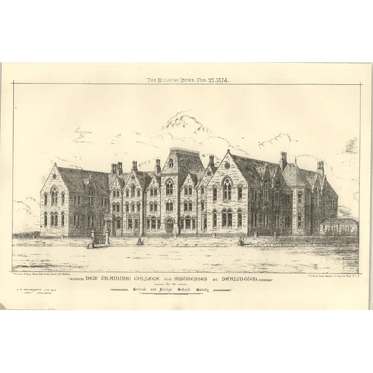 1874 New Training College For Mistresses At Darlington, British Foreign School