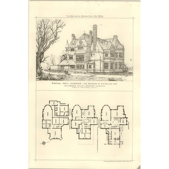 1874 Birstall Holt Leicester Residence Of Wh Walker, Design, Plan
