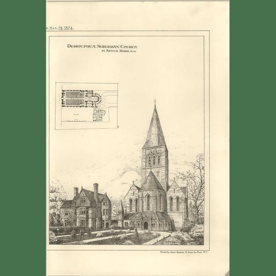 1874 Design For Suburban Church By Arthur Baker