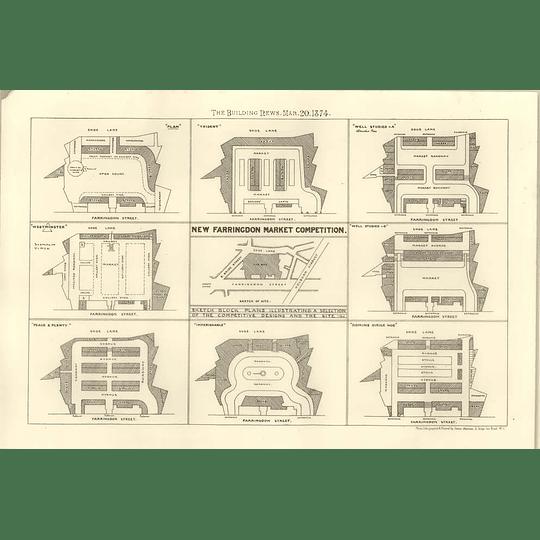 1874 New Farringdon Market Competition, Block Plans