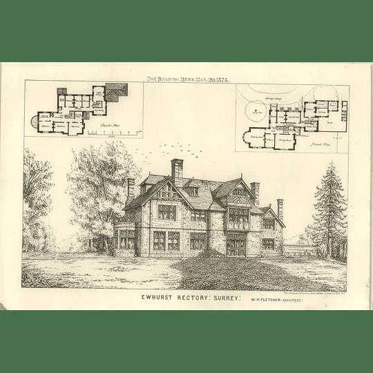 1874 Ewhurst Rectory In Surrey, Fletcher Architect Design Plan