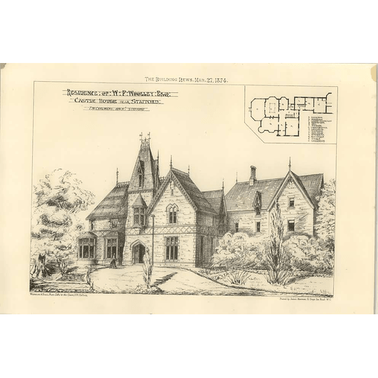 1874 Residence Of Wf Woolley Esq, Castle House Stafford