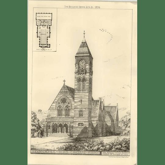 1874 Congregational Church In Caterham Surrey, John Sulman Architect