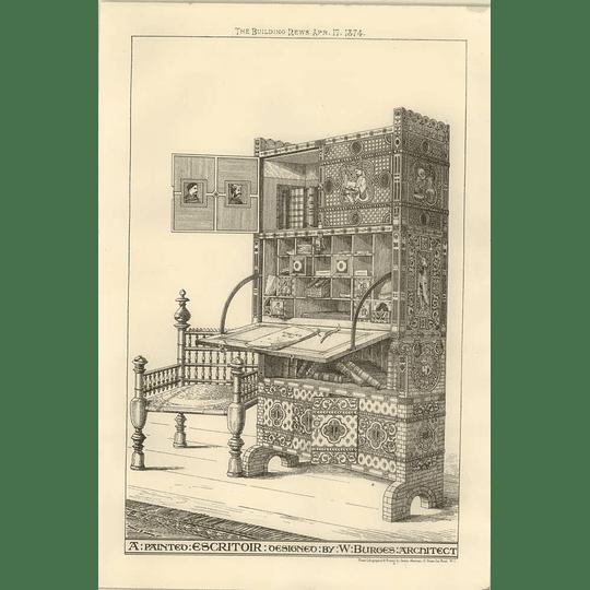 1874 A Painted Escritoir Designed By W Burges Architect