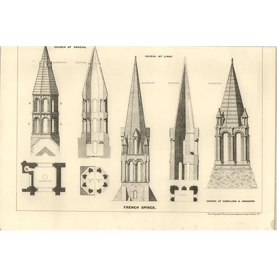 1874 Some Designs And Layouts Of French Church Spires, Limay, Conflanes