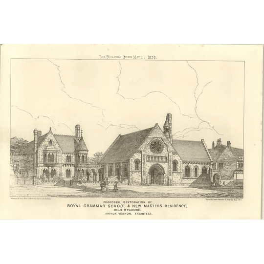 1874 Proposed Restoration Royal Grammar School Masters Residence High Wycombe