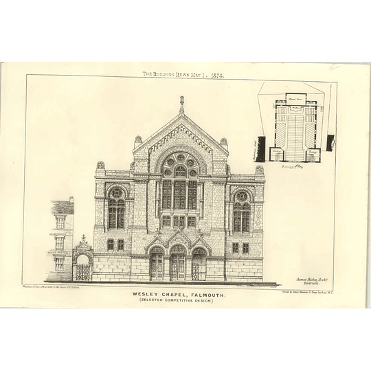 1874 Selected Competition Design For Wesley Chapel, Falmouth