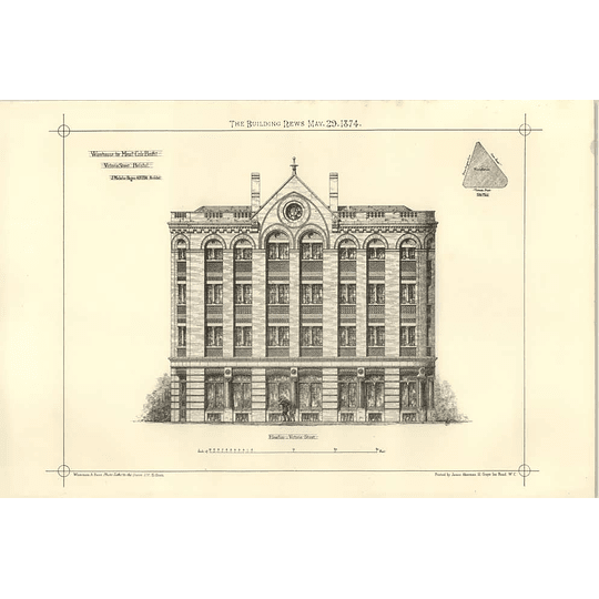 1874 Warehouse For Cole Brothers Victoria Street Bristol Drawings
