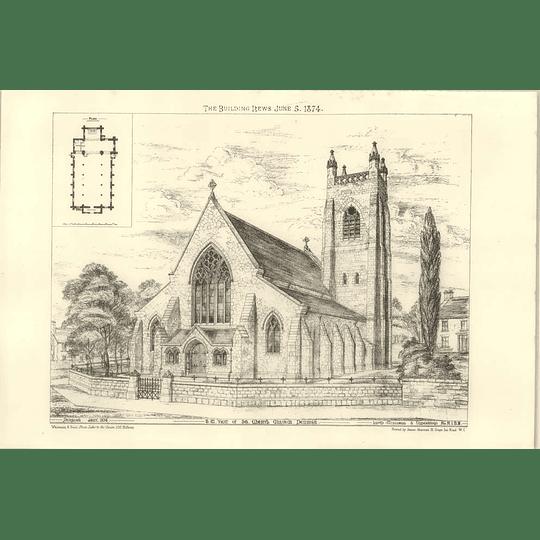 1874 Southwest View Of St Mary's Church Denbigh