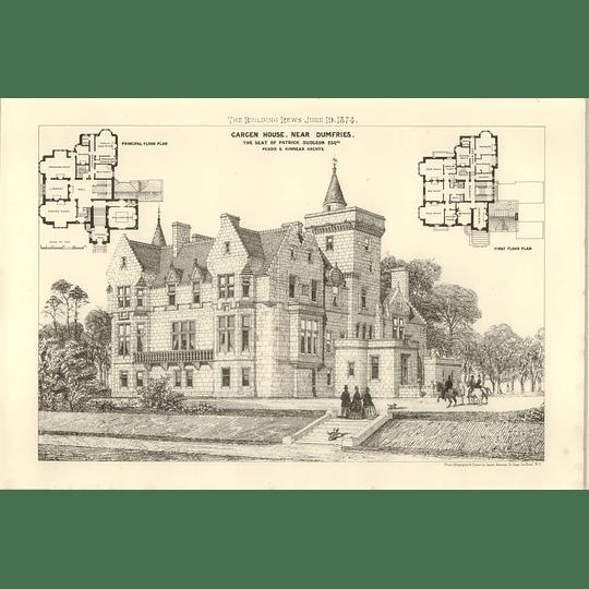 1874 Cargen House Near Dumfries, Seat Of Patrick Dudgeon Esq