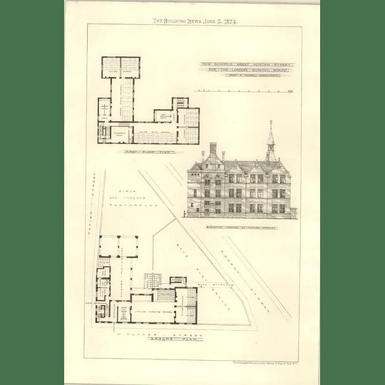 1874 New Schools Design And Plan Great Hunter Street London