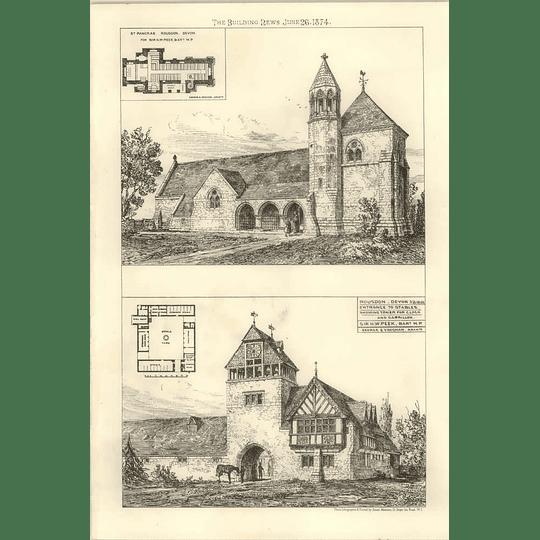 1874 St Pancras, Rousdon Devon, Stables Entrance Showing Tower