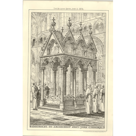1874 Monument To Archbishop Gray In York Cathedral Cribble Drawing