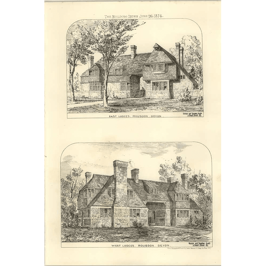 1874 East And West Lodges In Rousdon Devon