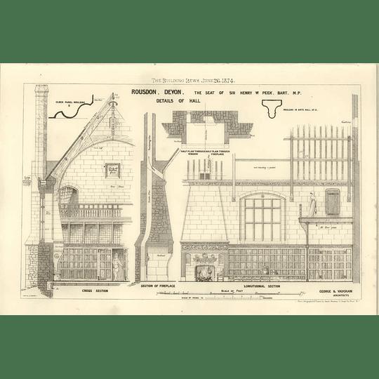1874 Rousdon Devon, Details Of The Hall