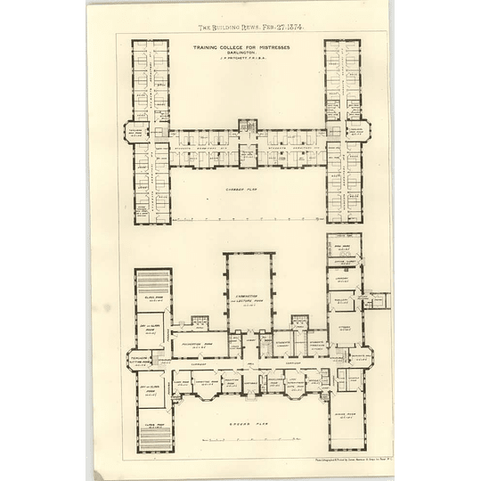 1874 Training College For Mistresses, Darlington, Ground And Chamber Plan