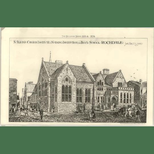 1874 St Alban's Church Institute Nursing, Boys School, Rochdale