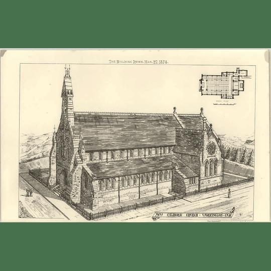 1874 New Catholic Church At Workington Birds Eye View