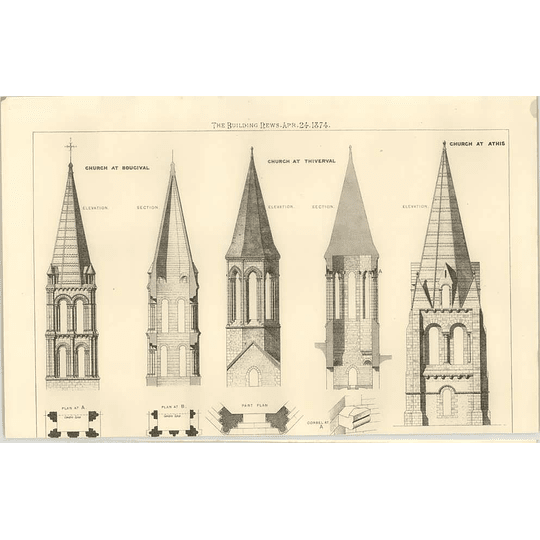 1874 Some Section And Elevation Of Churches At Bougival, Thiverval, Athis