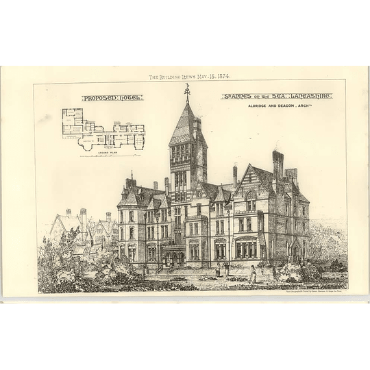 1874 Proposed Hotel At St Anne's On The Sea, Lancs Aldridge Deacon