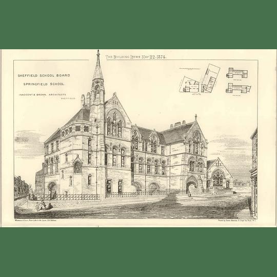 1874 Springfield School In Sheffield, Innocent Brown Architect