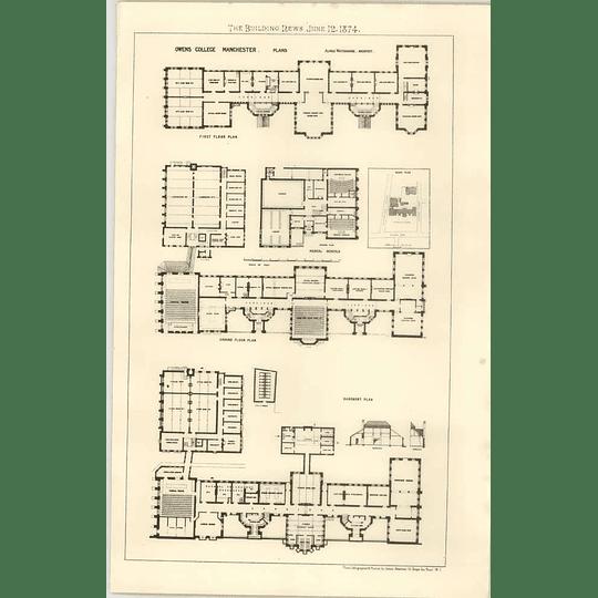 1874 Owens College Manchester, Floorplans