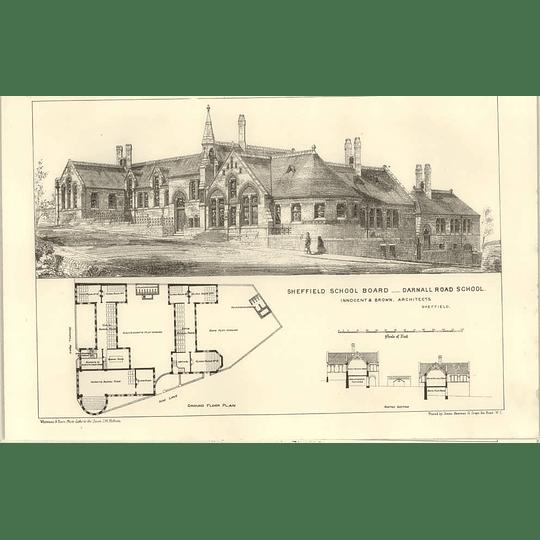 1874 Sheffield Board, Darnall Road School, Design, Plan,