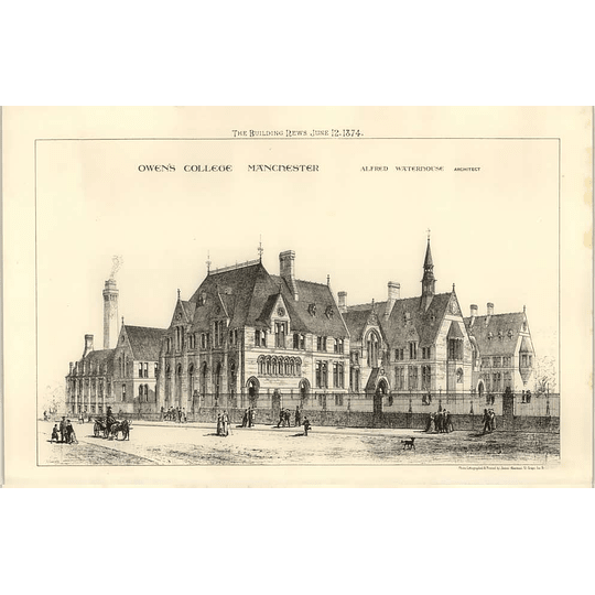 1874 Owens College In Manchester, Exterior View, Alfred Waterhouse Architect