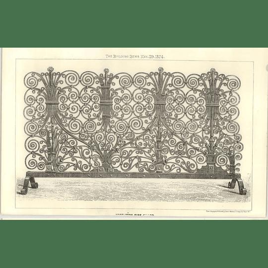 1874 An Intricate Wrought Iron Fireguard