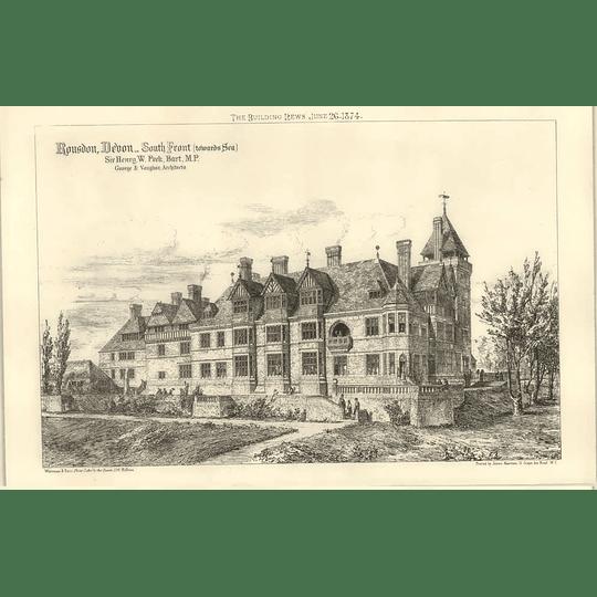 1874 Rousdon, Devon, South Front Sir Henry Peek