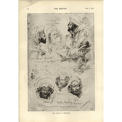 1893 The Crisis In Morocco Sultan Hassan Pencil Drawing Sidney Hall