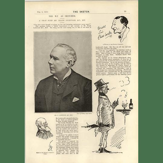 1893 Interview Mr Frank Lockwood Qc Caricaturist Artist