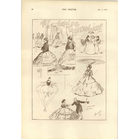 1893 Dudley Hardy Cartoon Lady Sculptor Absurd Crinoline Fashions