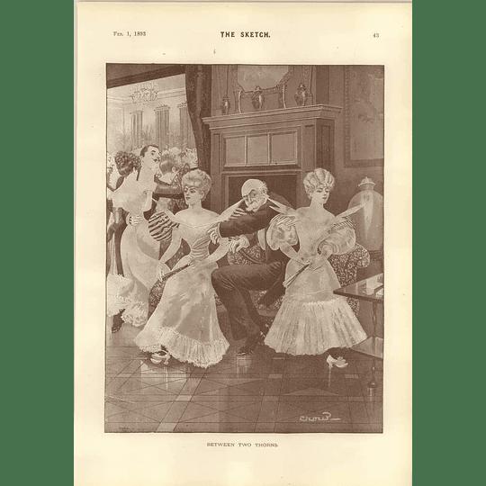1893 Cartoons Ice Carnival In Paris Between Two Thorns Mars