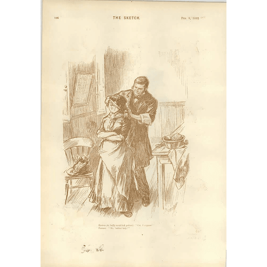 1893 Cartoons Doctor Treating Scratches On Patient Burning Old Invitations Leonard Raven-hill