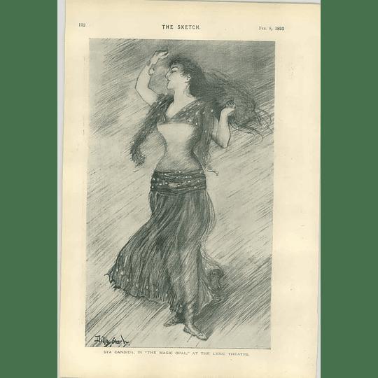 1893 Dudley Hardy Sta Candida Magic Opal Lyric Theatre Dog Cartoon