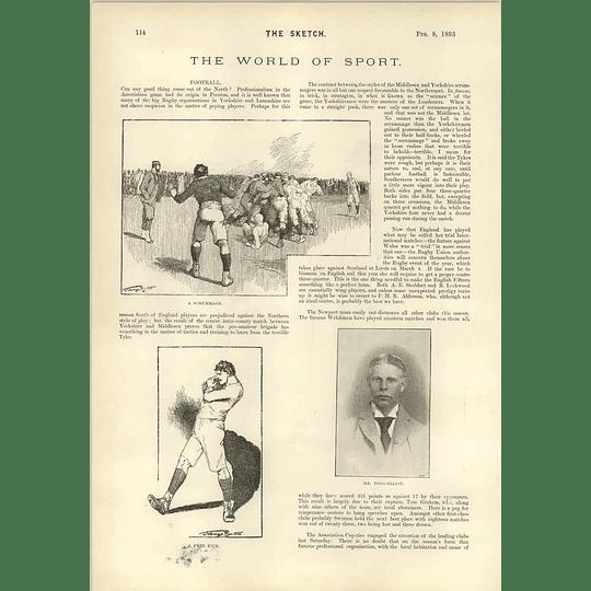 1893 Rugby Scrummage Mr Fogg Elliott Phil May Landlord Tenant Cartoon