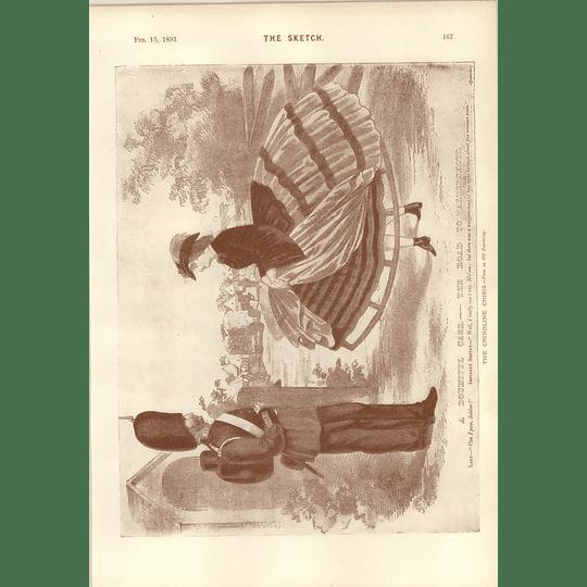 1893 Crinoline Dress Joke Old Print Dudley Hardy Spanish Gypsy