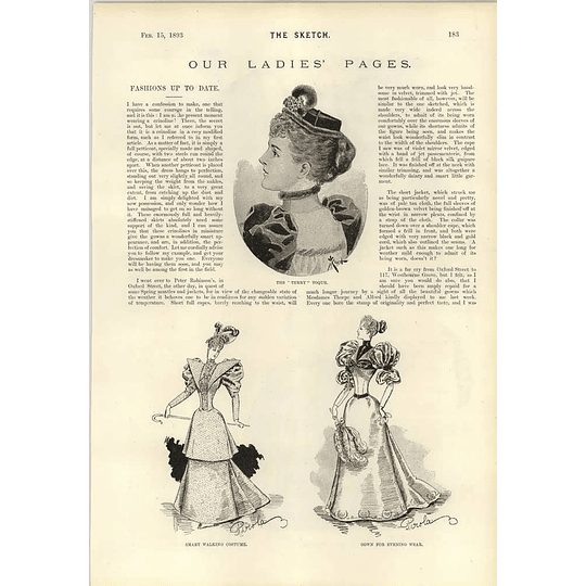 1893 Fashionable Hats And Capes Walking Costumes