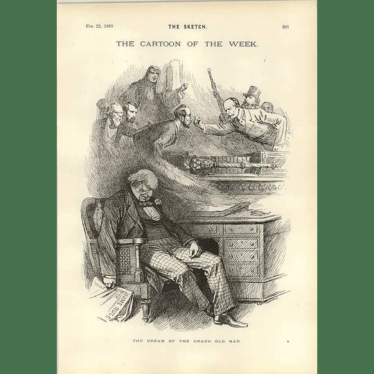 1893 Gladstone's Dream Cartoon Latest Scandal In Paris