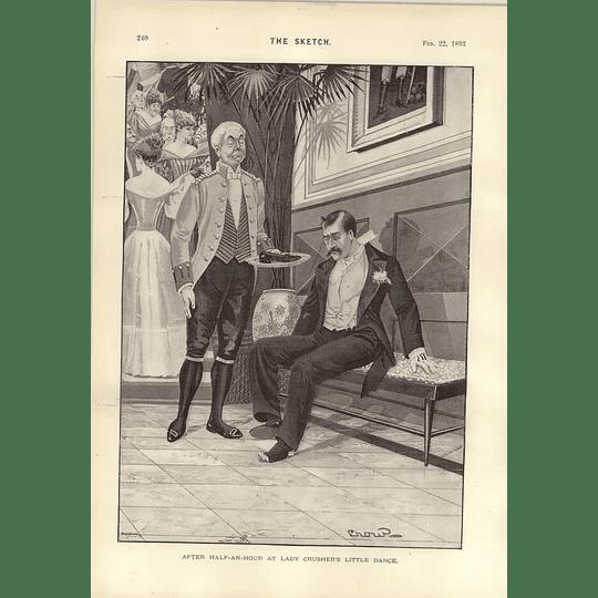 1893 Dudley Hardy Glove Spoils Lady Crushers Little Dance Cartoon