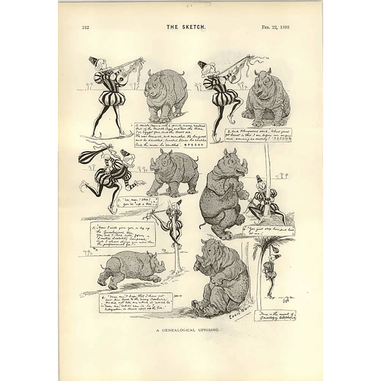 1893 Louis Wain Troubadour Rhinoceros The Highwayman Outwitted Pig