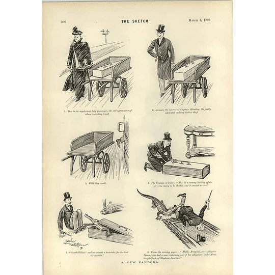 1893 Dudley Hardy The Umpire Cartoon Leslie Willson Surprise Thief