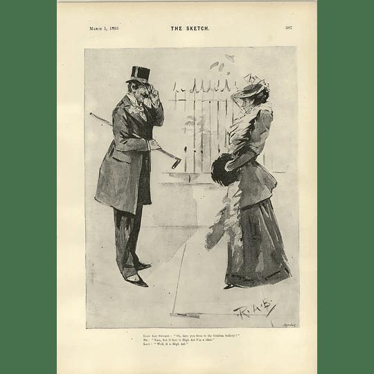1893 Lady Art Student Grafton Gallery Gaffe Cartoon